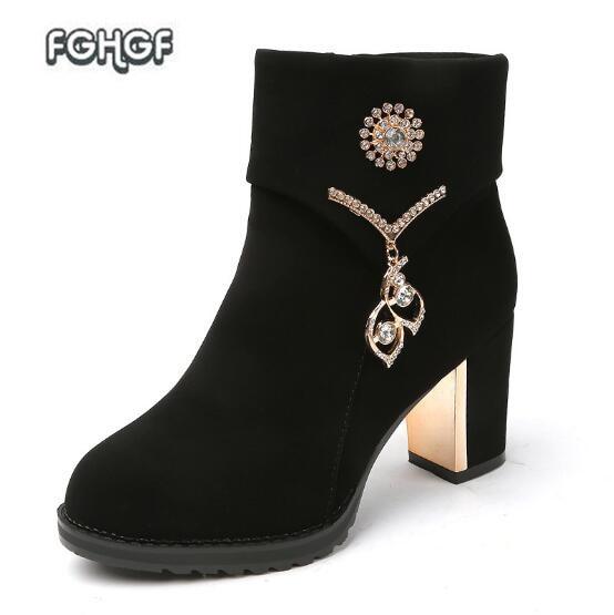 где купить  Hot Autumn Winter Ankle Boots For Women High Heel Boots Woman Black Riding Boots Ladies Zip Suede Boots Femme  Shoes Botas Mujer  по лучшей цене