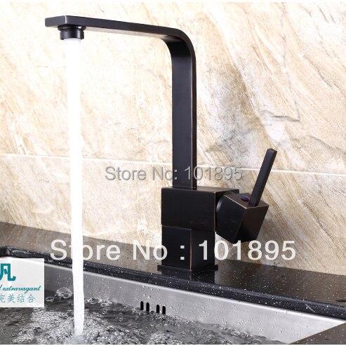 L15706-robinet de cuisine en laiton de couleur noire monté sur pont de luxe
