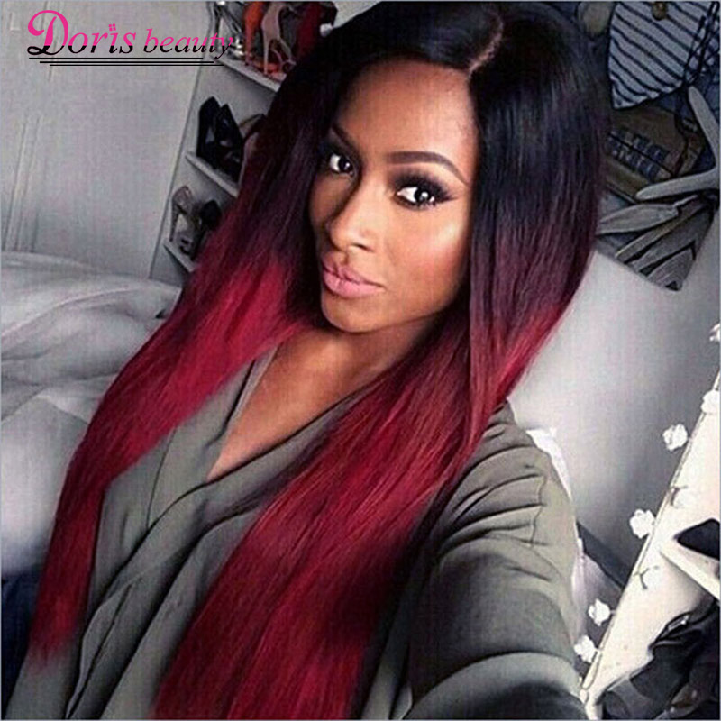Doris beauty Long Straight Ombre Black Red Wigs for Women with Middle Part Synthetic Cosplay Heat Resistant Hair