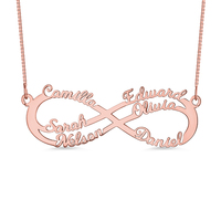 AILIN Engraving Women Infinity Symbol Jewelry Rose Gold Color For Her INF 6 Names Pendant For Special Gift