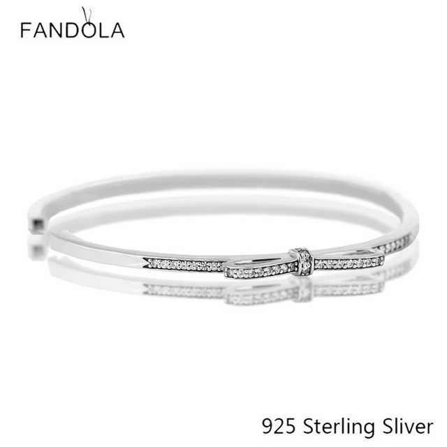 Fits European Style Bracelets 100% 925 Sterling Silver Jewelry Sparkling Bow, Clear CZ Original Fashion DIY Charms