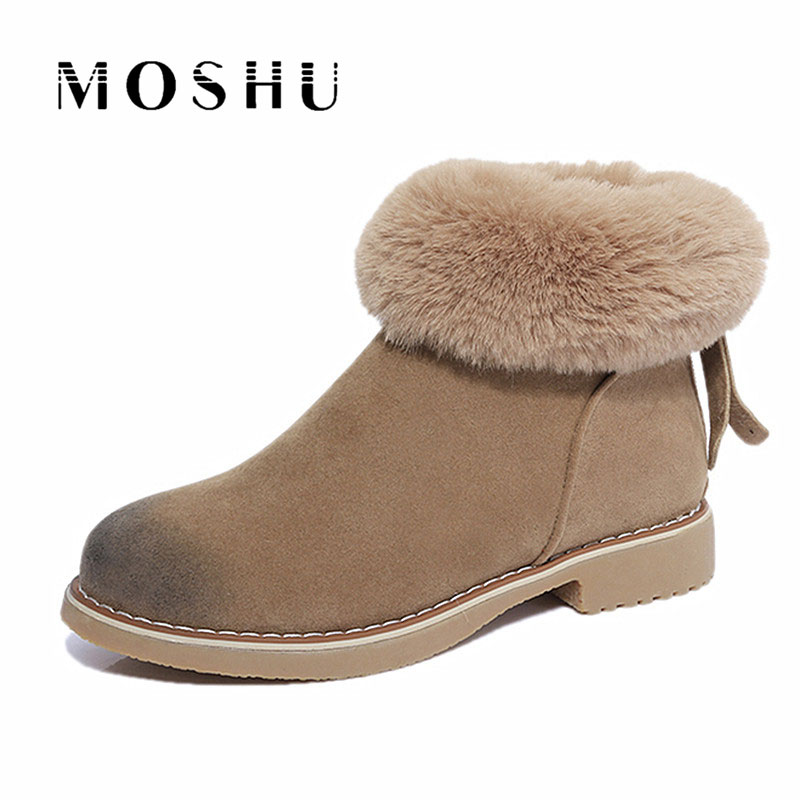 Fur Winter Snow Women Boot Australia Ankle Flock Feather Slip On Ankle Warm Boots Female Zapatos