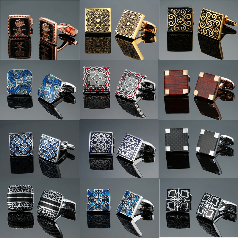 DY New Luxury Jewelry Brand Of High-grade Mahogany Carbon Fiber Retro Pattern Cufflinks Men's Shirts Cufflinks Free Shipping