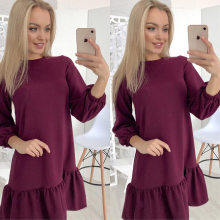 Three Quarter Lantern Sleeve Autumn Dress 2018 Women Ruffles Hem Solid Colour Loose Casual O-neck Mini Dresses Vestidos(China)