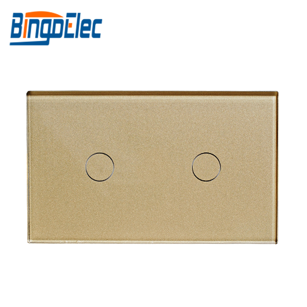 AElectrical Equipment AU/US Standard Bingoelec AC 110-250V Gold Glass Panel 2gang 1way Touch Switch Electrical Wall Switch