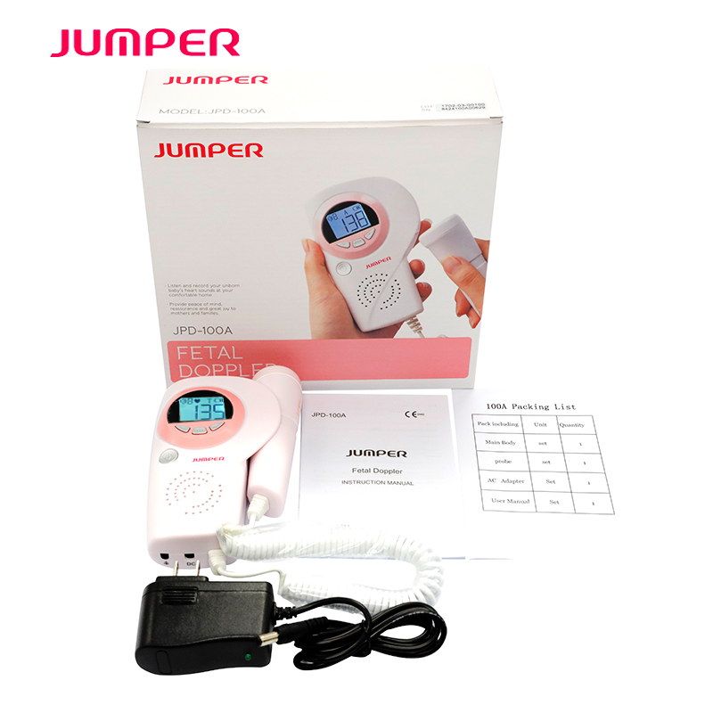 LCD Screen Baby Fetal Doppler JPD-100A Fetal Heart Rate Detection Device Easy to use for Home FHR Portable Ultrasonic Diagnostic ultrasonic pocket fetal doppler angelsounds fetal doppler jpd 100s 3mhz baby heart monitor fhr new lcd display