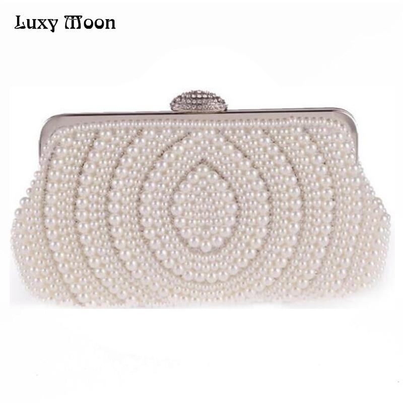 2016 Fashion Pearls Clutch Bag White Beige Evening Bags Beaded Women Shoulder Bags Wedding Party Purse Diamonds Clutch Bag ZD483