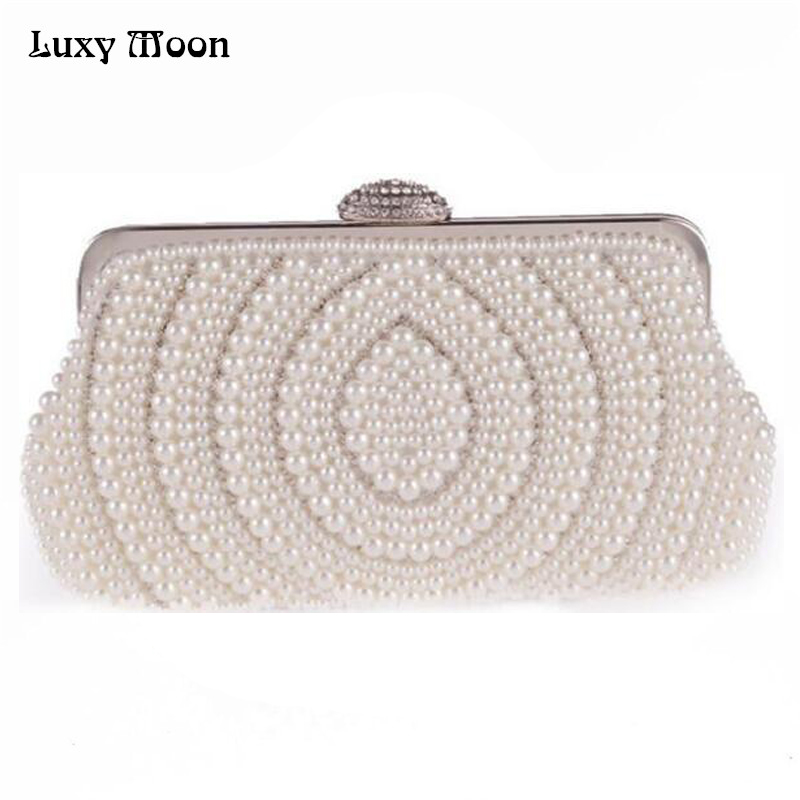 Fashion Pearls Clutch Bag White Beige Evening Bags Beaded Women Shoulder Bags Wedding Party Purse Diamonds Clutch Bag ZD483