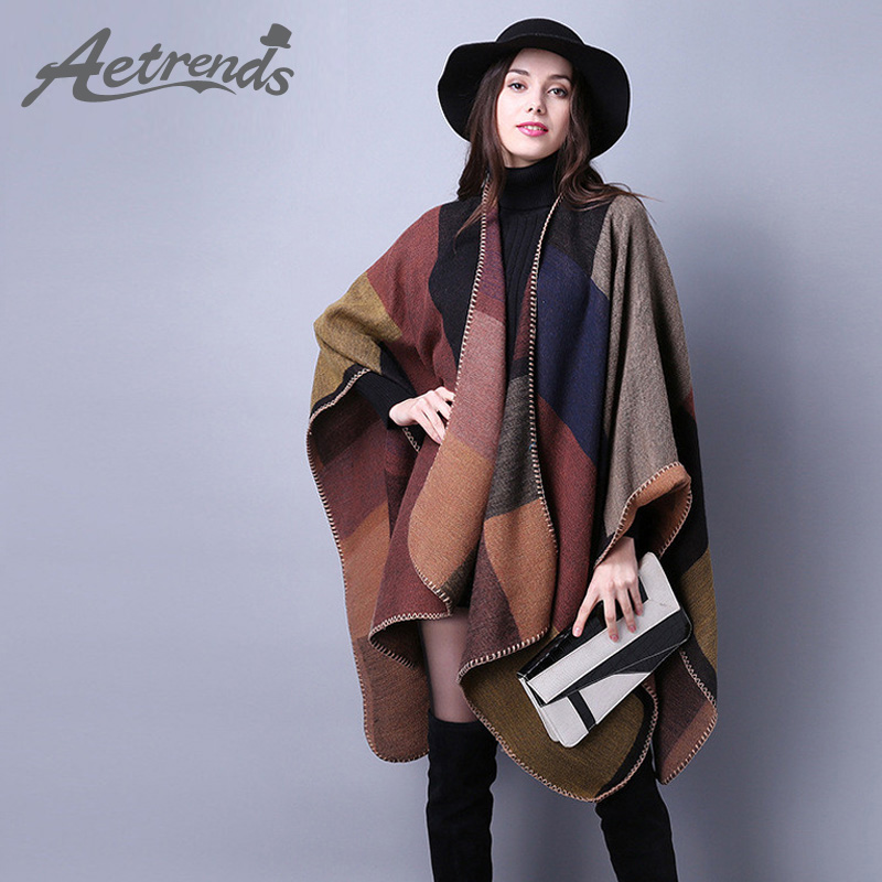 AETRENDS 2017 Winter Women's Shawl Cashmere Scarf Poncho