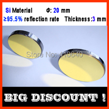 3 pieces per lot Diameter 20 mm Si CO2 laser reflecting len with gold coating  for laser engraver cutting Machine FREE SHIPPING