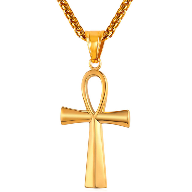 ANKH Cross Key of Nile Charm Necklace Women Men Gold/Rose Gold/Black Gun Plated Egypt Stainless Steel Necklaces Pendants P124