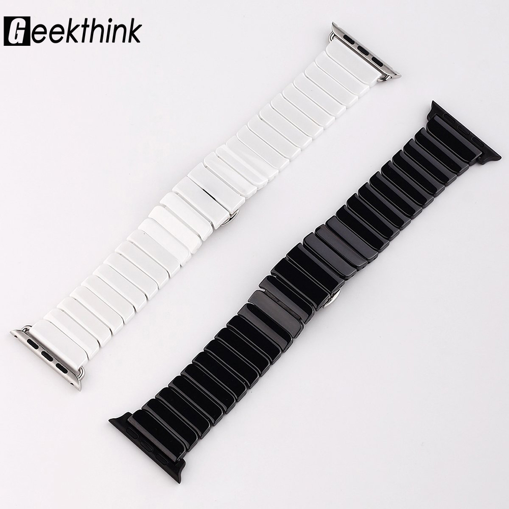 Top quality Butterfly clasp Lock Link loop band Ceramic for Apple Watch band link bracelet strap 38mm 42mm for iwatch for samsung gear s2 classic black white ceramic bracelet quality watchband 20mm butterfly clasp