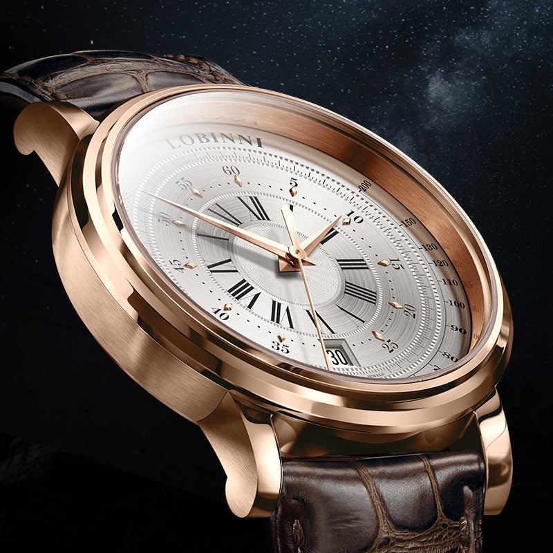 Suíça lobinni novos relógios masculinos topo de luxo marca japão importação nh35a sii o automóvel mecânico movt relógio masculino safira