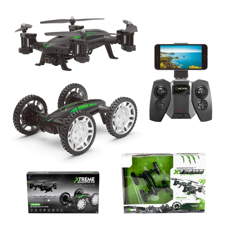 DWI602 Air Road RC Drone Car 2 in 1 Flying Car 2.4G RC Quadcopter Drone 6 Axis 4CH Helicopter With HD Camera High Speed 4WD toy|RC Helicopters| |  - title=