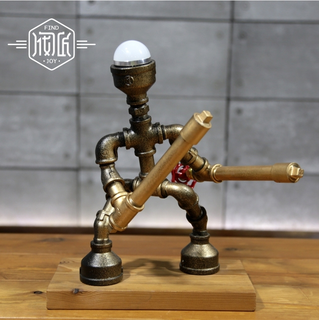 Hot Metal Creative Robot Crafts Led Desk Lamp Simple Novelty Table For Bedroom Study