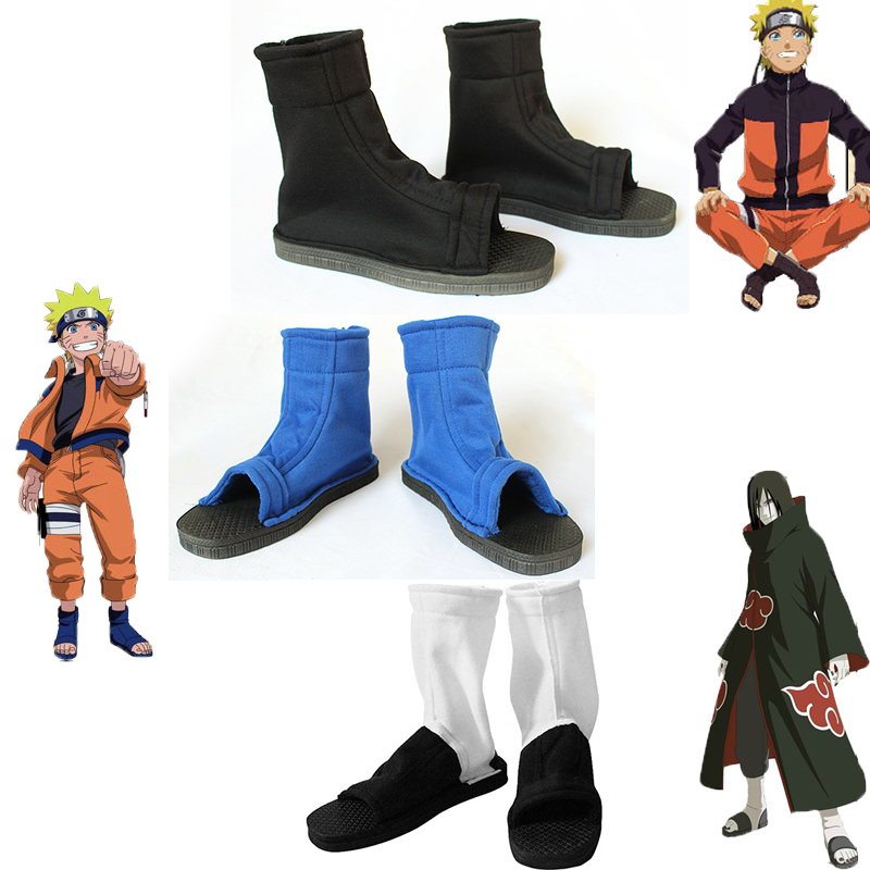 Naruto Cosplay Shoes Akatsuki Nanja Uzumaki Naruto Sakura Sasuke Black Blue Cotton Soft Sandals Ninja Boots Kakashi Shoes