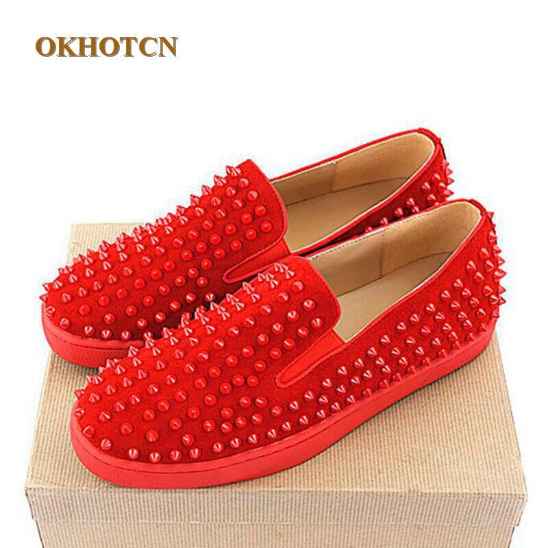 Artesanal Marca Slip Redondo Plus Pé Dedo Estilo Rebites Sapatas Sapatos on Popular Homens Sólidos As Dos Flats Show Red Moda Size Do Suede Suave Europa 6EqwCC