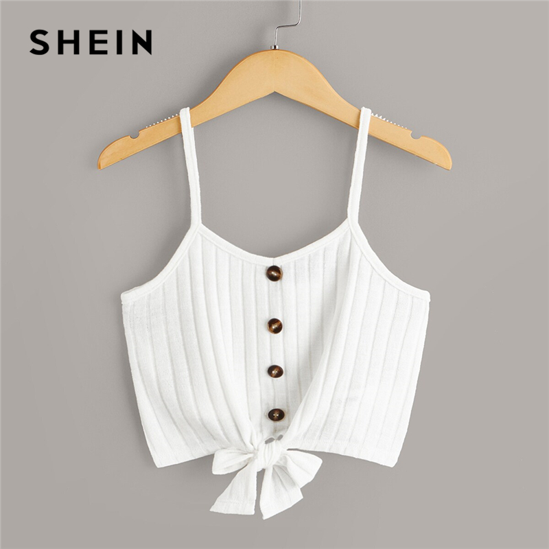 SHEIN Tops Spaghetti-Strap Knit Toddler Single-Button Girls Casual Kids Summer Sleeveless title=