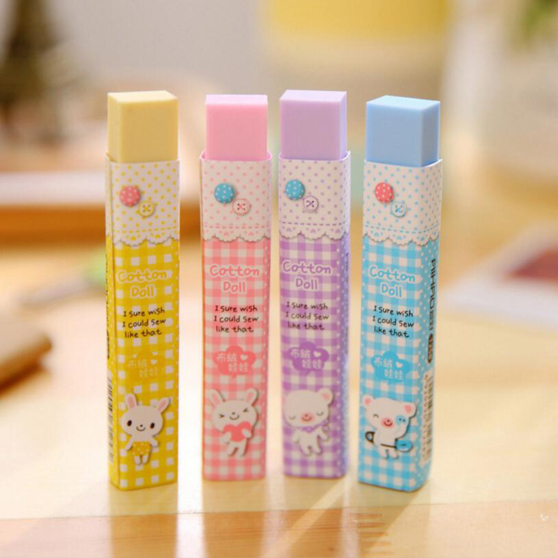 1pc Cute Kawaii Cartoon Cube Eraser Color 2b Eraser Student Writing Painting Eraser Children Gift Stationery (Random Color)