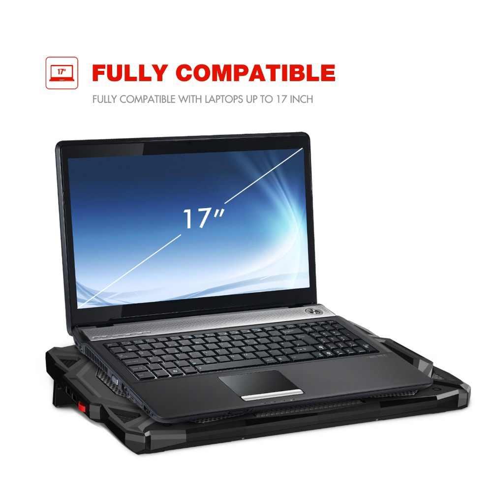 """HAVIT Вентилятор охлаждения тихий ноутбук охлаждающая подставка светодиодный USB кулер ноутбук с 5 вентиляторами без шума Ноутбук вентилятор для ноутбука 14 """"-17"""" HV-F2068"""