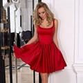 Vestido de Cóctel Vestidos 2017 Red Scoop de Raso Una Línea Corta Vestido de Fiesta Flores Grandes Arco Vestidos de coctel Corto Por Encargo