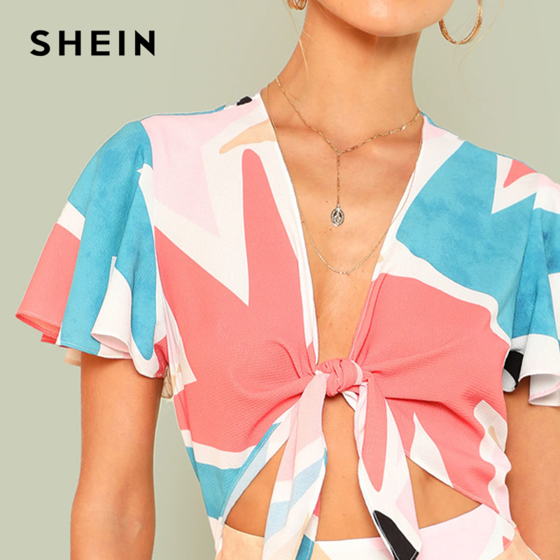 ac7439f5dfc SHEIN Butterfly Sleeve Knot Front Romper Women Deep V Neck Short Sleeve  Wide Leg Patchwork Geometric Playsuits 2018 Boho Romper-in Rompers from  Women s ...