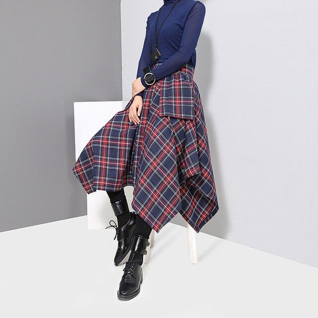 New 2019 Korean Style Women Winter Red Blue Plaid Skirt Split Checker Lady Irregular High Waist Casual Fashion Loose Skirt 3027 5