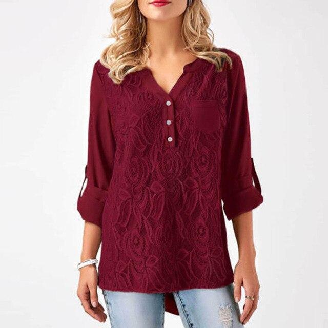 08562c9c8a0e0e Fashion ZANZEA V Neck Adjustable Long Sleeve Chest Pockets Blouse Tops Women  Autumn Casual Brief Lace Patchwork Slim Fit Shirt