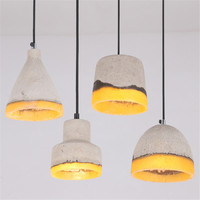 American Country Style Cement Pendant Light 100cm Wire E27 Socket Droplight Indoor Decoration Hanging Lamp