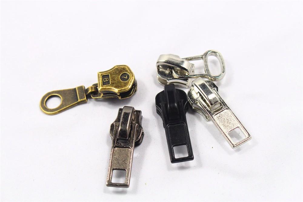 10 Pieces Zipper Pull Metal Zipper Tabs Zipper Repair Kits Zipper Extender Head Zipper Handle Replacement for Jacket Boot Jean Suitcase Luggage Coat Spring Lock Clip On No Tool Needed