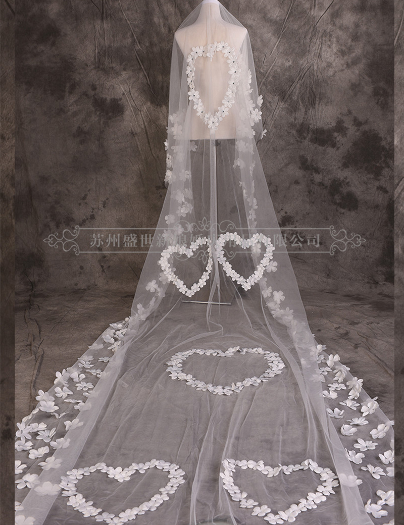 Luxury 5m Wedding Veil Long Tulle Appliques Heart Design Bridal Veil One Layer Free Shipping
