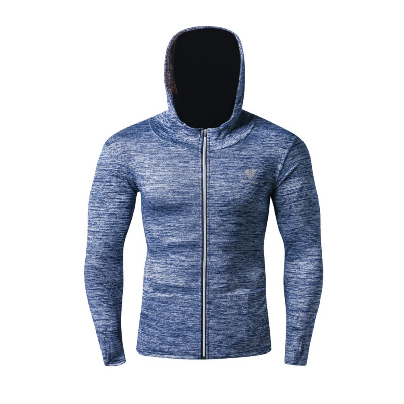 Мужская дышащая куртка для бега быстросохнущая Джерси ветрозащитная куртка со светоотражателями на молнии Светоотражающая в ночное время Спортивная с капюшоном - Цвет: QL