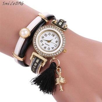 SmileOMG Hot New Women Watch Fashion Casual Vintage Diamonds Band Bracelet Dial Quartz Bell Pendant Wrist Watch Gift ,Oct 10 дамски часовници розово злато