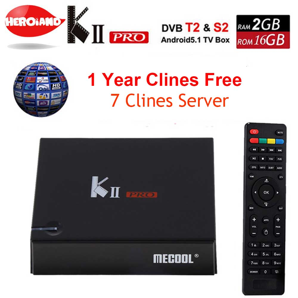 1 Année Europe 7 Cline code serveur KII Pro DVB S2 T2 Android7.1 smart Tv Box DVB-T2 DVB-S2 Amlogic S905d 2/16G WiFi K2 PRO lecteur