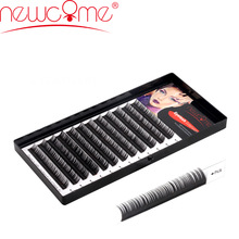 NEWCOME 3D Korea Individu Extension Bulu Mata Curl B / C / D Silk False Eyelashes Tebal 0,05-0,25 Volume Eye Lashes Untuk makeup