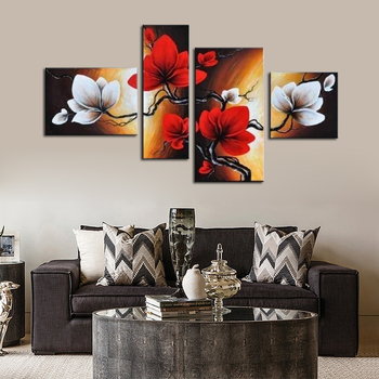 Abstract painting canvas red flower hand painted canvas oil paintings for living room wall Art Decoration Drop shipping