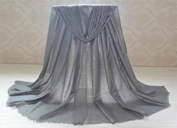 Grande silenciador lenço das mulheres muçulmanas, paillette lenço lurex, brilho xales cor sólida, hijab Muçulmano, mulheres xale com lurex, bandana, bandana envoltório
