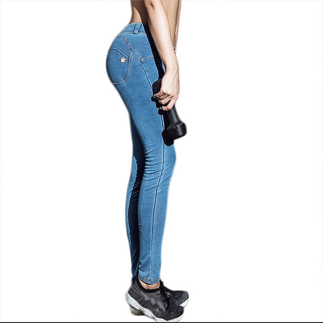 Women Sexy Fitness Push Up Jeans Leggings 2016 Ropa Deportiva Mujer Leggins High Elastic Stretch Skinny Peach Hip Pants