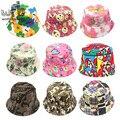2-6years varejo Pescador caps sunbonnet chapéus de sol impressão dos desenhos animados do bebê das crianças das crianças primavera verão outono
