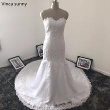Vinca sunny 2017 Lace applique Tull sweetheart Mermaid Wedding Dresses vestido de noiva robe de mariee Bridal Gown Custom Made