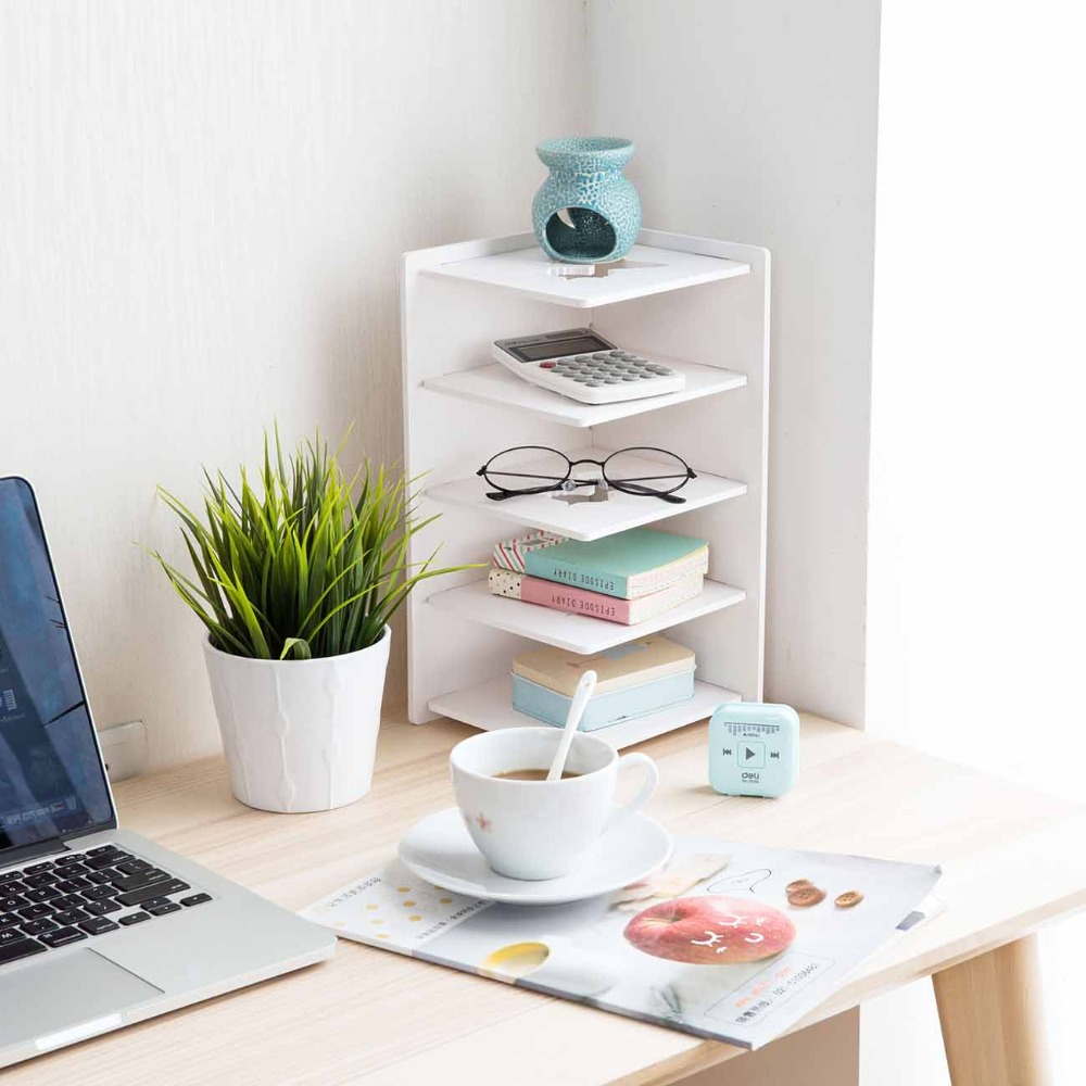 OTHERHOUSE Desktop Shelf Storage Rack Book Shelf Display Bookends 5 Layers Desk Organizer For Books File Office Home Decoration
