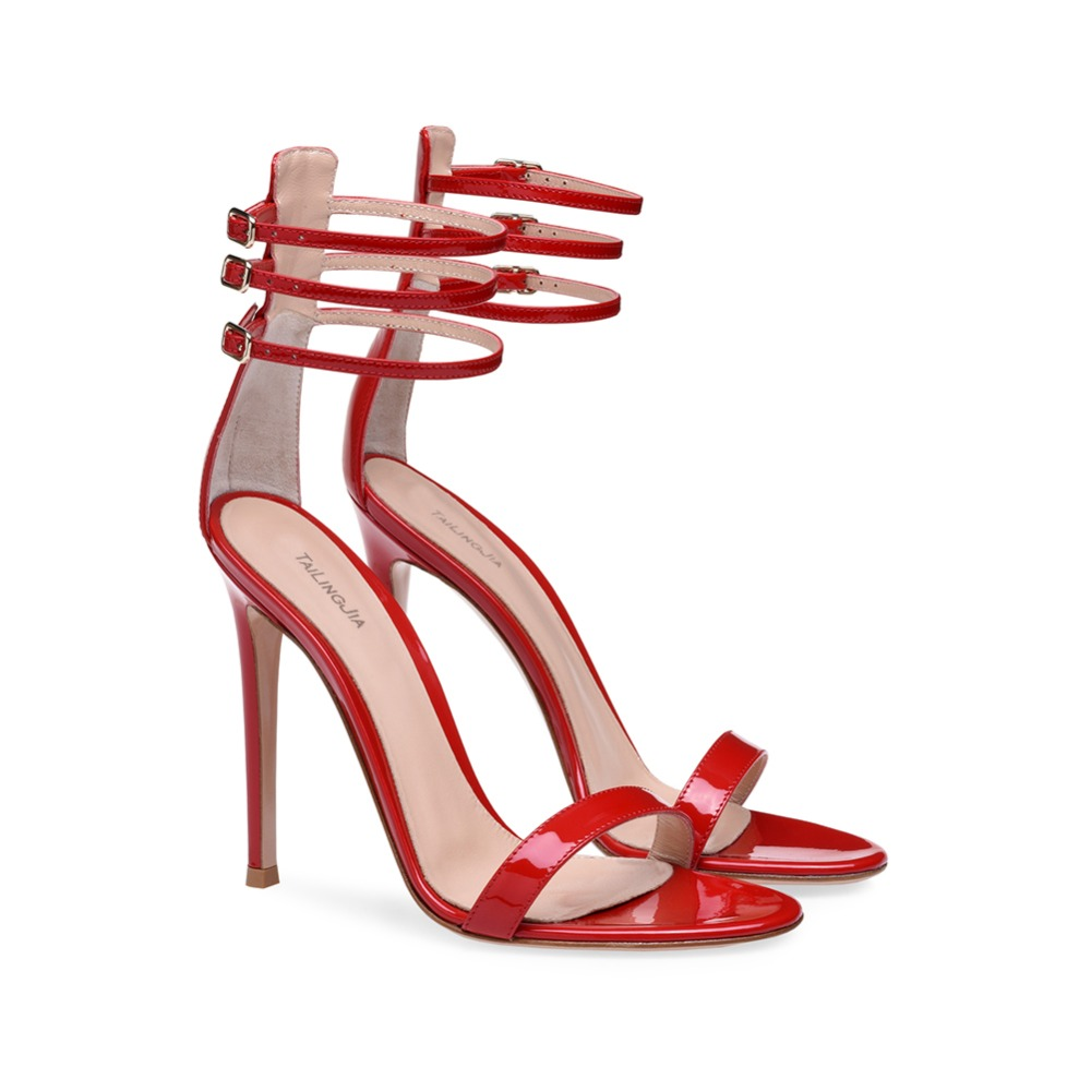 Shiny Red Sexy High Heel Women Sandals Ladies Heeled Summer Shoes Evening Dress Stiletto Heels Patent Leather Ankle Straps in High Heels from Shoes