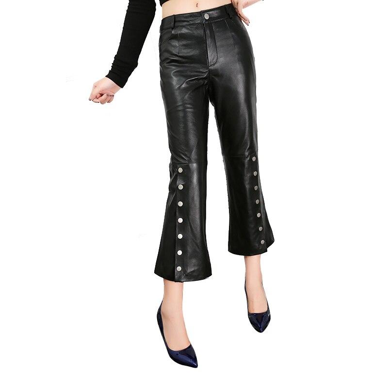 M-3XL Femmes En Cuir Véritable flare pantalon en peau de Mouton fendu pantalon Femme taille haute couleur noire était mince Pantalon wq1509 livraison directe