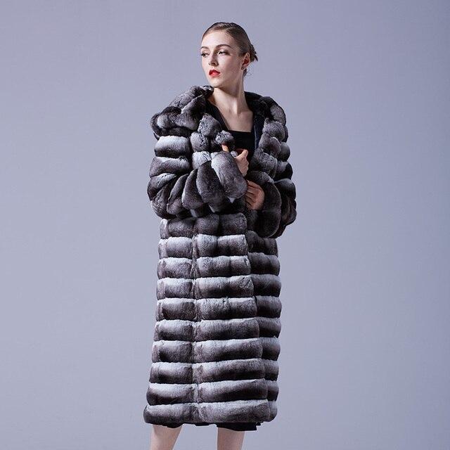 Arlenesain custom women long deep gray chinchilla fur hats black velvet warm fur coat 820