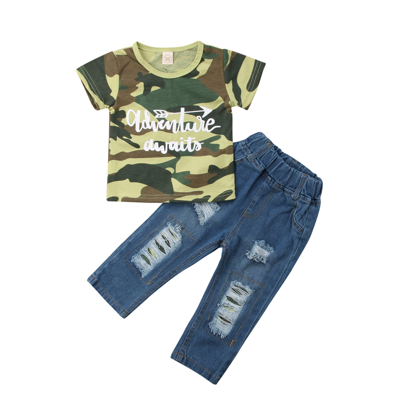 New Fashion Kids Baby Boys Clothes Camoflage Short Sleeve Tops T-shirt Denim Pants Jeans Outfits Clothes Set