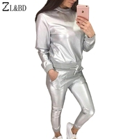 ZL BD Two Piece Sets Tops And Pants Metallic Color PU Leather Tracksuits Set Women Spring