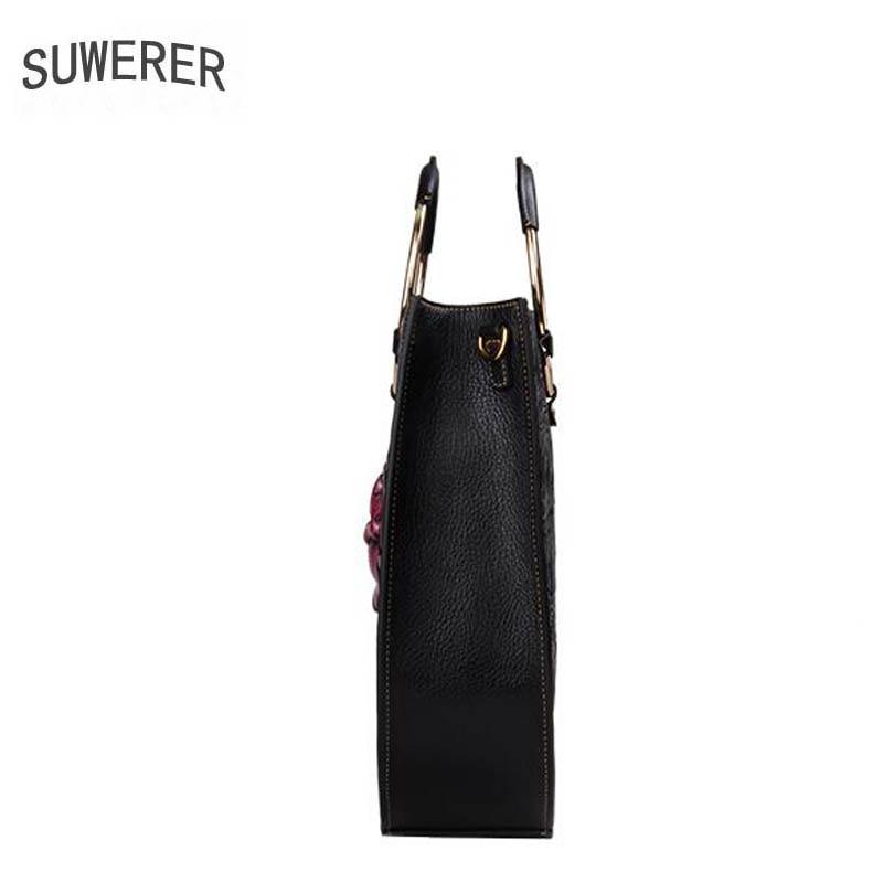 Tasche Geprägt Black Echtem 2019 Farbe Blumen Frauen Handtaschen Neue Tote Designer Mode Taschen Leder Aus Sn0Oqxw6