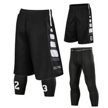 Men Sets Sporting Gymming QUICK-DRY Workout Compress Capri Cropped Casual Board Shorts For Bodybuilding Runs Slim Fitness 8509