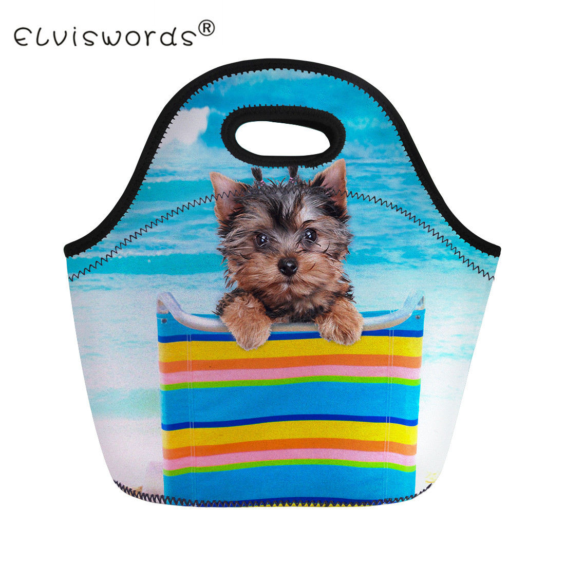 ELVISWORDS Yorkshire Terrier Dog Print Kids Thermal Lunch Bags Women Adults Food Picnic Cooler Bag Children Insulated Lunch Box