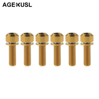 M5 16mm 18mm Titanium Bicycle Bike Stem Bolt Screws Seat Clamps Bolts With Washer For MTB Mountain Road Bicycle Parts 6 Pieces